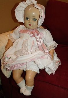 "1949 Baby DOLL22"" Plastic HD Cloth Body Rubber Limbs Arranbee Plus Orig Dress"