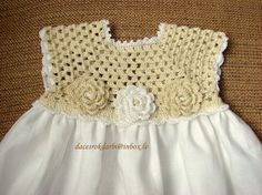 Linen crochet spring & summer dress for the baby girl by Dachuks Girls Spring Dresses, Crochet Summer Dresses, Crochet Yoke, Crochet Fabric, Baby Girl Crochet, Baby Knitting Patterns, Dress Patterns, Creations, Couture