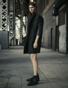 ALLSAINTS WOMEN'S LOOKBOOK OCTOBER 2015 LOOK 5. The Ember Coat, Paradise Shoulder Bag and Aspetta Shoe
