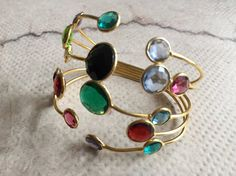 Multi Color Glass Cuff Bracelet/Crystal by FootSoles on Etsy