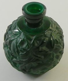 Czech Malachite Pesnicak Perfume Bottle Carved Roses Vintage