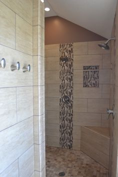 Very cool walk-in shower. All custom tile and finishes. There used to be a garden tub and glass block window in this location.