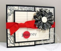 Stampin up newsprint joy fold card
