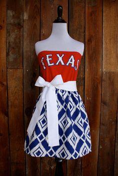 Texas Rangers Baseball Strapless Game Day Dress - Size Small. $45.00, via Etsy.
