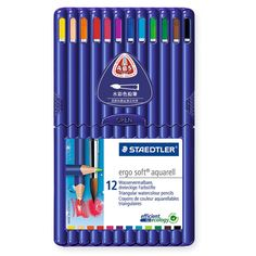 Amazon.com: Staedtler Ergosoft Watercolor Pencils, Set of 12 Colors in Stand-up Easel Case (156SB12): Office Products