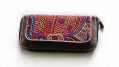 Portemonnaies - Geldbörse aus Leder mit Mola-Dekor - ein Designerstück von MolaBags bei DaWanda