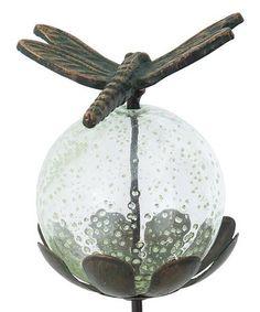 Look at this #zulilyfind! Dragonfly Glow in the Dark Glass Globe Garden Stake #zulilyfinds