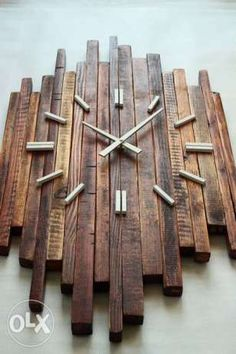 """Zegar """"Ragged""""- rustykalnty z desek z palet, postarzany Czerwionka-Leszczyny - image 5"""