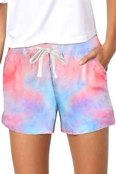 Multicolor Tie Dye Casual Shorts 23.29 CAD Tie Dye Shorts, Knit Shorts, Linen Shorts, High Waisted Shorts, Casual Shorts, Tie Dye Patterns, Shorts With Pockets, Pocket Shorts, On Repeat