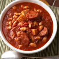 Chicken Cassoulet-Style Soup -      1  pound  boneless, skinless chicken thighs or breast, cut into 1/2-inch pieces,     8  ounces  smoked turkey sausage, cut into 1/2-inch slices,      26  oz  pasta sauce with red wine and herbs     1 15 - 19  ounce can white kidney (cannellini) beans, rinsed and drained     1 1/3  cups  water     1  teaspoon  dried oregano, crushed - www.oursunnyvilla.com