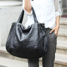 Black Large Leather Tote by Stevenhandmade on Etsy, $99.00