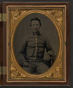 [Unidentified soldier in Confederate shell jacket with fringed pockets] (LOC) by The Library of Congress, via Flickr