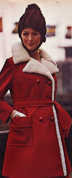 1969 Fashion, Winter Hats, Coat, Red, Photos, Jackets, Photography, Down Jackets, Sewing Coat