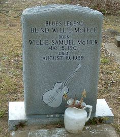 Willie 'Blind Willie' McTell - Ragtime blues singer and guitarist. He played with a fluid, syncopated fingerstyle guitar technique, common among many exponents of Piedmont blues, although, unlike his contemporaries, he came to use twelve-string guitars exclusively. McTell was also an adept slide guitarist, unusual among ragtime bluesmen.