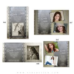 Antique Damask Photo Card Templates for Photographers. These make beautiful graduation invitations for seniors. #Photoshop #Templates #Photographers #Seniors