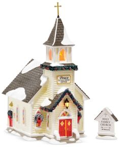 Department 56 Snow Village Holy Family Church Light House, inch (Set of Department 56 Christmas Village, Christmas Village Collections, Dept 56 Snow Village, Christmas Village Display, Christmas Villages, Lemax Christmas, Christmas Holiday, Farm Village, Classy Christmas