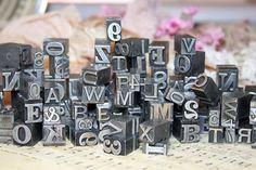 Metal Print BLOCK (5)  Printer's Tray- VINTAGE- Typography - Industrial Printing Press Letters- Initials