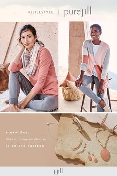 Life feels better in luxuriously soft Pure Jill styles. Everyday Casual Outfits, Ankle Length Leggings, Knit Boots, Cowl Neck Top, Cable Sweater, Knitted Poncho, Square Scarf, Hooded Jacket, Feels