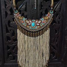 Bead Embroidery Bib Necklace with Beaded Fringe, Tribal Necklace, Boho Necklace