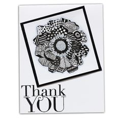 Blended Bloom Another Thank You Stamp Sets using Zentangle Method. by UnderstandBlue, Splitcoaststampers
