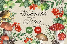 Big set of watercolor elements, bouquets, wreaths and patterns. Zip file Includes : - 75 transparent Png elements (mushrooms, leaves, branches, berries) - 8 transparent Png bouquets - 14 transparent Png wreaths - 42 Jpeg files with seamless patterns (300dpi, size 5000x5000) - 11 transparent Png files with seamless patterns. You can choose any