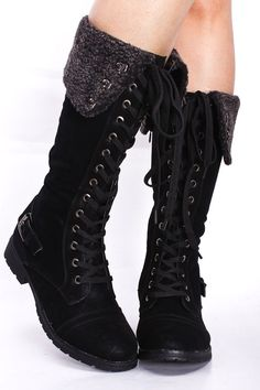 BLACK TALL CUFFED LACE UP BOOTS