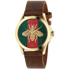 Gucci YA126451 Women's G-Timeless Bee Leather Strap Watch, Brown/Multi (6815 MAD) ❤ liked on Polyvore featuring jewelry, watches, gucci wrist watch, brown watches, polish jewelry, brown strap watches and gucci watches