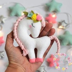 Felt Unicorn - Pattern and Step by Step of a Beautiful Unicorn - # Felt . - Felt Unicorn – Pattern and Step by Step of a Beautiful Unicorn – # Felt - Kids Crafts, Felt Crafts Diy, Felt Diy, Creative Crafts, Fabric Crafts, Cardboard Crafts, Bead Crafts, Fall Crafts, Sewing Toys