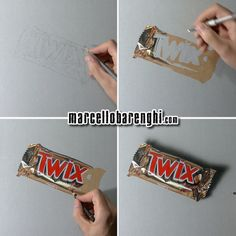 Drawing Marcello Barenghi: A twix bar - drawing phases 3d Drawings, Realistic Drawings, Colorful Drawings, Pencil Drawings, Food Drawing, Painting & Drawing, Hyperrealistic Drawing, Twix Bar, Object Drawing