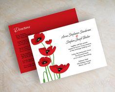 Red poppy wedding invitations, wedding invites www.appleberryink.com