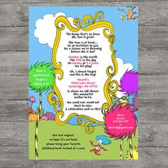 Dr Seuss Baby Shower Invitation PRINTABLE by photodesignz, this is THE invitation!!!