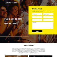 party decorators lead capture responsive landing page