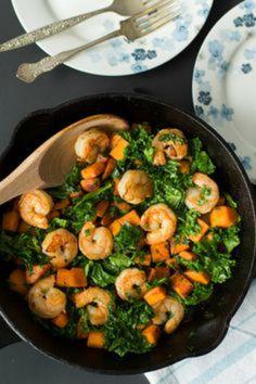 Sweet Potato, Kale & Shrimp Skillet
