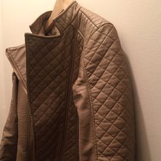 Moto Jacket Tan Faux Leather Material with Leopard Lining, worn less than three times Jackets & Coats
