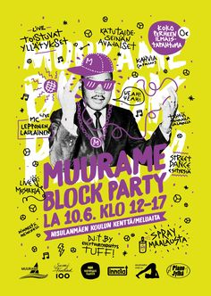 Muurame Block Party 2017 poster design. Hand drawn.