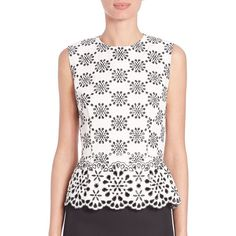 Marc Jacobs Embroidered Peplum Top ($1,465) ❤ liked on Polyvore featuring tops, apparel & accessories, white, sleeveless tops, marc jacobs, white peplum top, peplum tops and marc jacobs tops