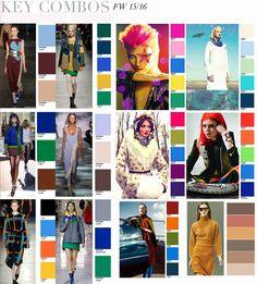 Combo key colors Fall-Winter 2015-2016 women fashion Apparel ----- Tavolozza abbinamenti colori donna stagione Autunno-Inverno 2015-2016 Abbigliamento