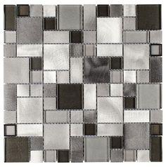 Aluminum Glass Mosaic Tile Silver Mix Pattern