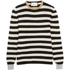 Gucci Metallic-trimmed striped cashmere and wool-blend sweater (2.245 BRL) ❤ liked on Polyvore featuring tops, sweaters, gucci, shirts, multicolor striped sweater, striped shirt, metallic sweater, metallic shirt and colorful sweaters