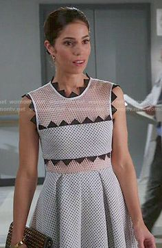 Marisol's white mesh dress with triangle trim on Devious Maids.  Outfit Details: http://wornontv.net/49447/ #DeviousMaids