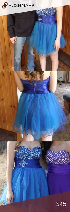 Blue Short Prom Dress Short blue prom dress, worn once. Good condition! Jems on the top and waistband. Size: 7/8 Dresses Prom