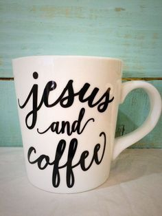 $12.99 16oz Jesus and Coffee Mug by CutsAndCreations on Etsy