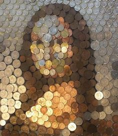 Mona Lisa made from coins Artist: Haylay Whittingham (no IG) - Keep tagging #sketch_daily for a feature! - by sketch_daily