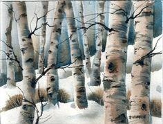 Aspen Grove Winter landscape ORIGINAL WATERCOLOR snow scene DAILY PAINTING  Pamela Wilhelm