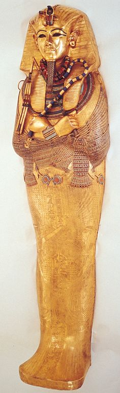 Innermost coffin of Tutankhamon, Thebes, 18th Dynasty. I WAS FORTUNATE ENOUGH TO SEE THE EXHIBIT HERE IN THE USA WHEN IT TOURED...I WILL NEVER FORGET IT..WAS VERY IMPRESSIVE.. SO MUCH GOLD