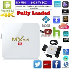 WELLWIN MX MINI TV BOX Amlogic S905 1g/8g Android 5.1 Full Loaded with Bluetooth HDMI WIFI 4K (White) Mini Tv, Arm Cortex, Computer Accessories, Wifi, Bluetooth, Android, Box, Products, Snare Drum