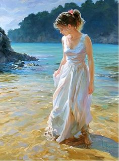 Wow! Incredible detail in this painting of a lady on the beach, by Vladimir Volegov