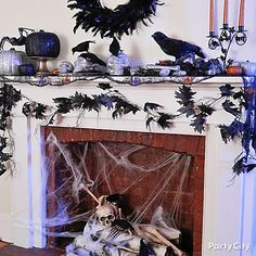 If your home has a fireplace, it's a prime spot for Halloween decorating!