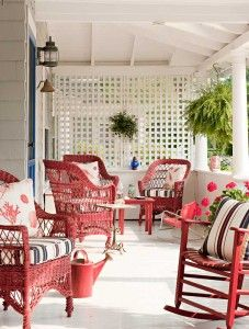 Classic Victorian Summer Cottage The red,and white porch features Bar Harbor-style wicker furniture~The red,and white porch features Bar Harbor-style wicker furniture~ Cottage Porch, Red Cottage, Beach Cottage Style, Southern Cottage, Coastal Style, Summer Porch Decor, White Porch, Victorian Cottage, Victorian Porch