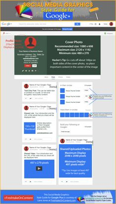 Want to customize your Google+ cover photo? This #Infographic will help. The Google Plus Style Guide also shows sizes and dimensions for images shared on G+